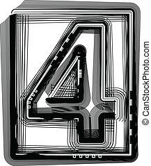 Striped font NUMBER 4