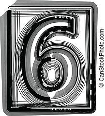 Striped font NUMBER 6