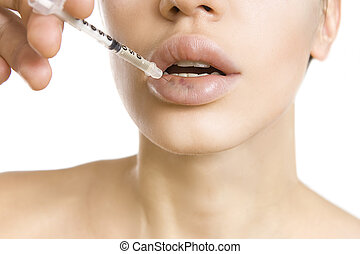 woman getting an injection - real lip bruise after injection