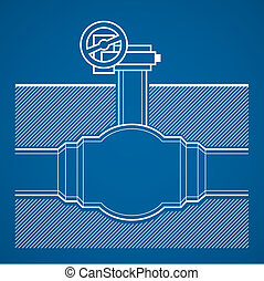 Industrial tap vector blueprint illustration underground on...