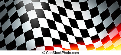 Racing flag with flames