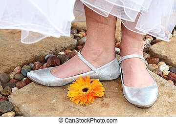Bridal Shoes - Silver Bridal shoes with a bright orange...