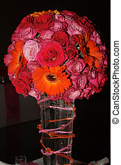 Pot with flowers - Wedding Table flower arrangement with...