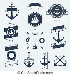 Collection of nautical symbols, icons, badges and elements