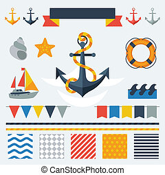 Collection of nautical symbols, icons and elements