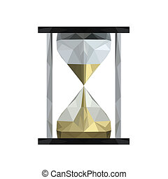 Illustration of geometric polygonal sand hourglass isolated on white background