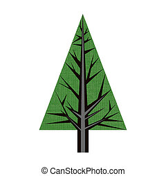 Illustration of abstract origami pine tree