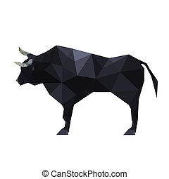 Illustration of polygonal origami bull isolated on white...