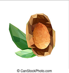 Illustration of geometric polygonal almond seeds with green leaves