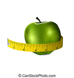 Illustration of fitness gree apple