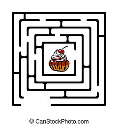 Illustration of simple maze with cupcake