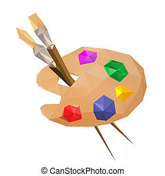 Illustration of geometric polygonal painting palette with...
