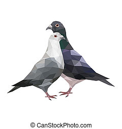 Illustration of abstract origami pigeons
