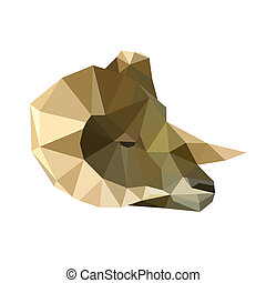 origami ram - Illustration of abstract origami ram portrait