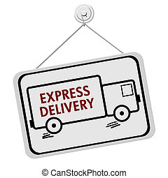 Express Delivery Sign - A red and white sign with the words...