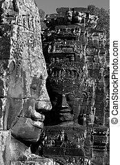 Angkor Tom temple ruins - Shot at a temple in Angkor,...