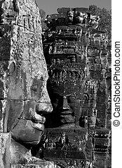 Angkor Tom temple ruins - Shot at a temple in Angkor,...