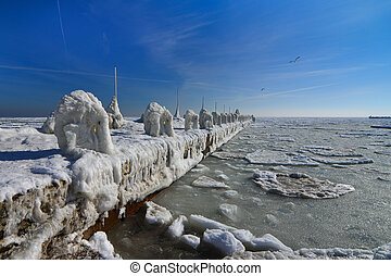 Frozen ice ocean coast - polar winter - Frozen ice ocean...