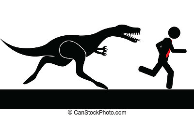 Man run from dinosaur - Illustration vector of a person that...
