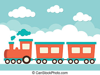 Train and Carriages - An illustration of a train with...