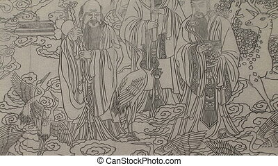 Chinese Mural Etched in Stone - Chinese mural carved in...