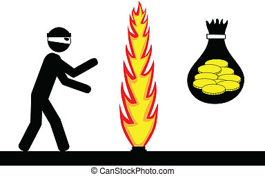 Thief steal money - Vector/Illustration. Thief trying to...