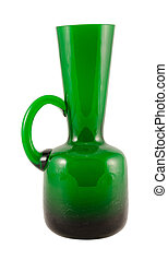 green glass vase with handle isolated on white