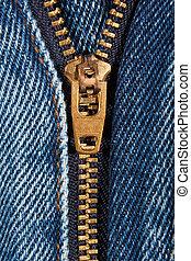 Zip - Close up of denim jeans zip partly open