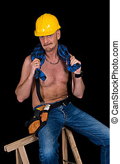 Construction worker - Middle aged handsome male construction...