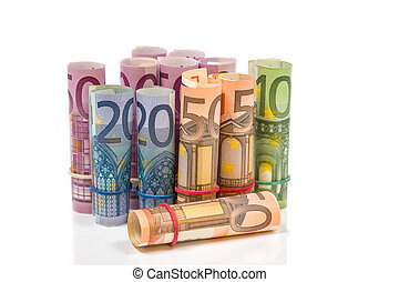 Rolled up Euro bills