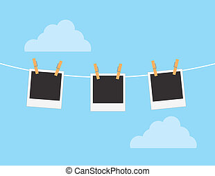 Photos Hanging Sky - Photos hanging from string with sky...