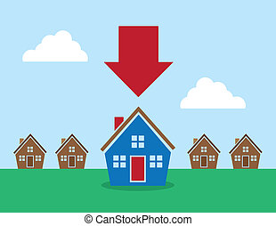 Houses Arrow Pointing at One - Row of houses with large red...