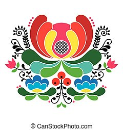 Norwegian folk art patten - Vector background of floral folk...