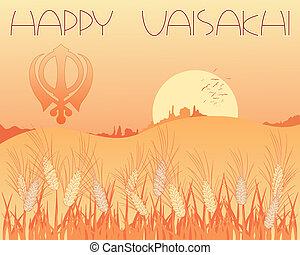 punjabi greeting card - an illustration of a vaisakhi...