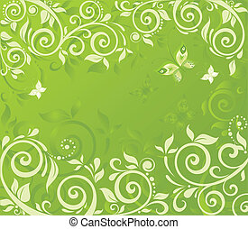 Green floral retro card