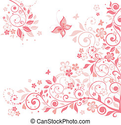 Greeting floral pink card