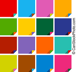 set of 16 blank squares with bent colored angles