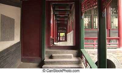 Hallway in Temple - Hallway, White Cloud Temple, world\'s...