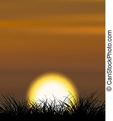 Sunset - Background illustrating sunset with the grass shape...