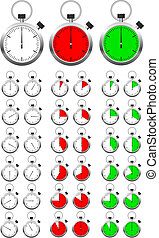 Set of vector stopwatch timers indicating different periods...