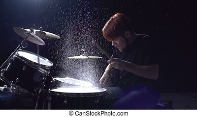 Going Crazy with Drumsticks - Slow motion of percussionist...