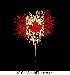 Canada day. Welcome to Canada - Fireworks in a heart shape...