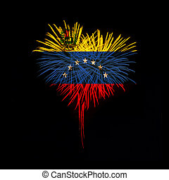 Independence day. Welcome to Venezuela - Fireworks in a red...