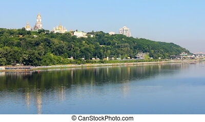Kyiv-Pechersk Lavra on a hill on the banks of the Dnipro