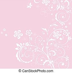 Pink greeting floral card