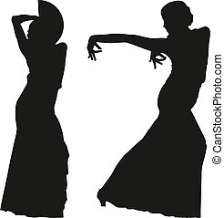 Two black silhouettes of female flamenco dancer on the white...