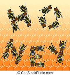 Fleet bees as text on honeycomb, top view, vector