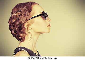 pin-up profile - Portrait of a beautiful girl standing in...