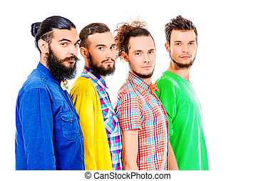 bearded men - Group of modern bearded young men standing in...
