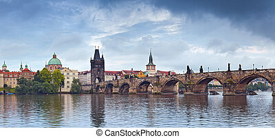 Prague - Panoramic image of Prague, capital city of Czech...